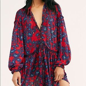 NWT Free People Love Letter Tunic in Merlot/Blue